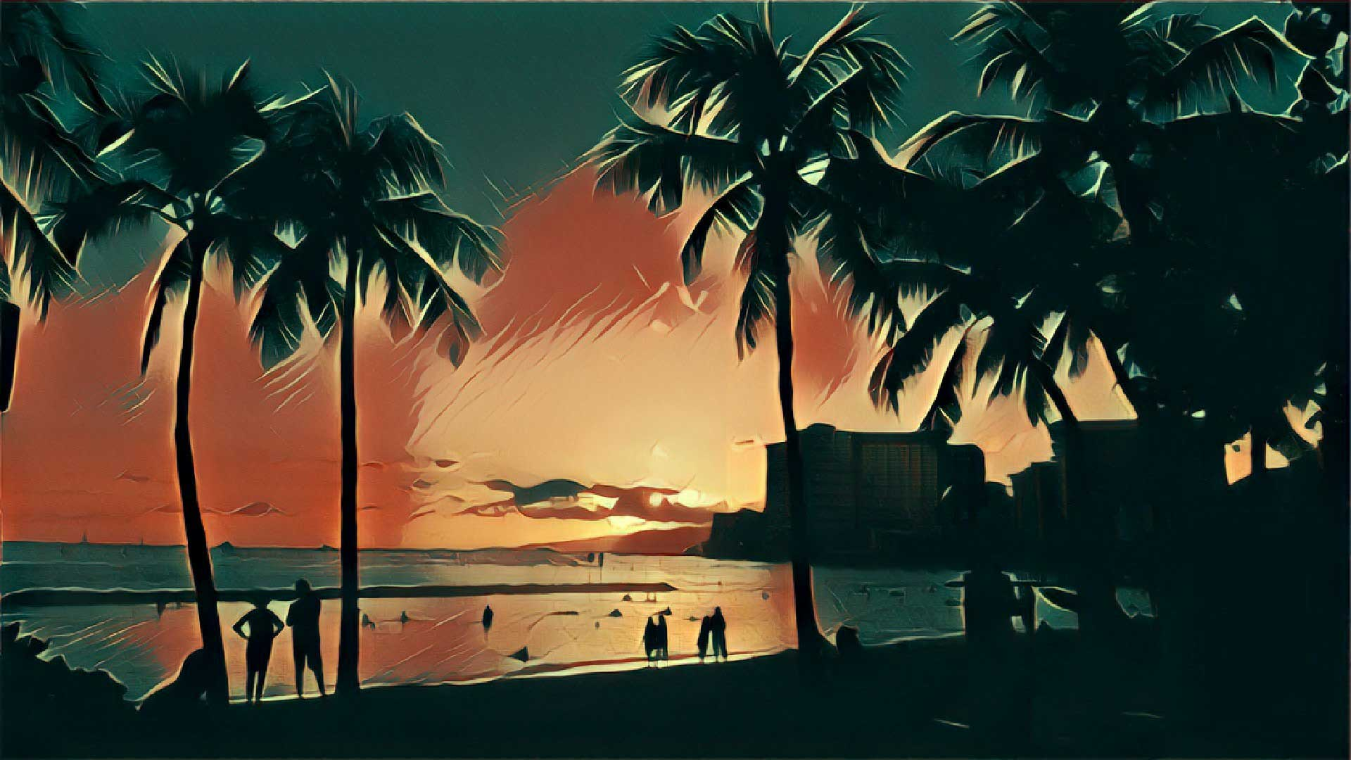 Waikiki Beach Night
